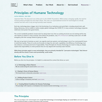Principles of Humane Technology - Center for Humane Technology