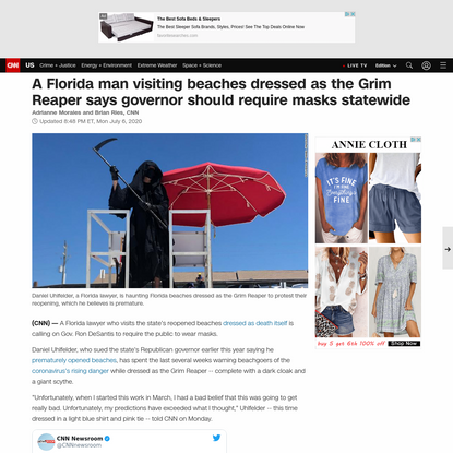 A Florida man visiting beaches dressed as the Grim Reaper says governor should require masks statewide