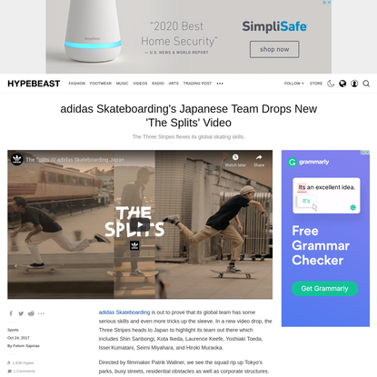 adidas Skateboarding's Japanese Team Drops New 'The Splits' Video