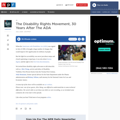 The Disability Rights Movement, 30 Years After The ADA : 1A