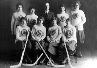 The Edmonton Swastikas, a Canadian womens' ice hockey team, c.1916.