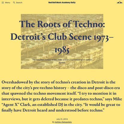 The Roots of Techno: Detroit's Club Scene 1973-1985   Red Bull Music Academy Daily