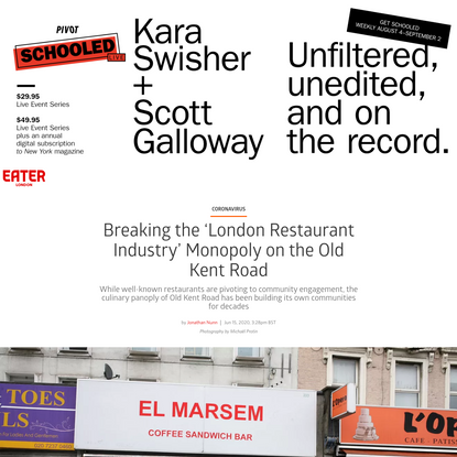 Breaking the 'London Restaurant Industry' Monopoly on the Old Kent Road