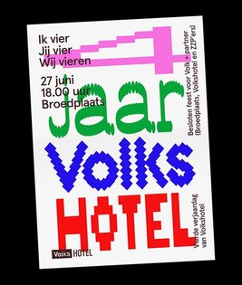 Custom type and riso printed poster for Volkshotel's fourth birthday party @volkshotel. Printed by Kaboem Amsterdam. . #type...