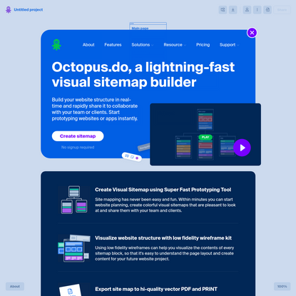 Super Fast Visual Sitemap Creator. Create Sitemap Instantly | Octopus.do