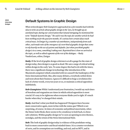 Lined & Unlined · Default Systems in Graphic Design