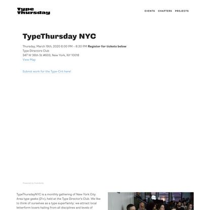 TypeThursday NYC - Type Thursday