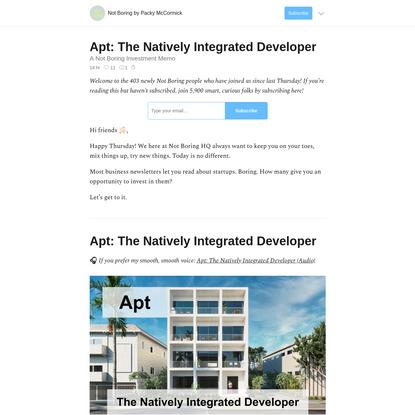 Apt: The Natively Integrated Developer