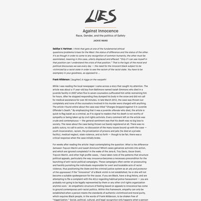Against Innocence   LIES Journal