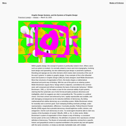 Graphic Design Systems, and the Systems of Graphic Design   Modes of Criticism