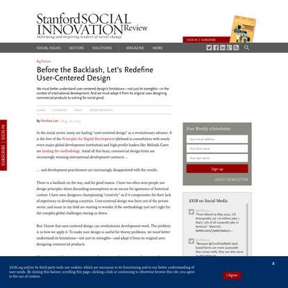 Before the Backlash, Let's Redefine User-Centered Design (SSIR)