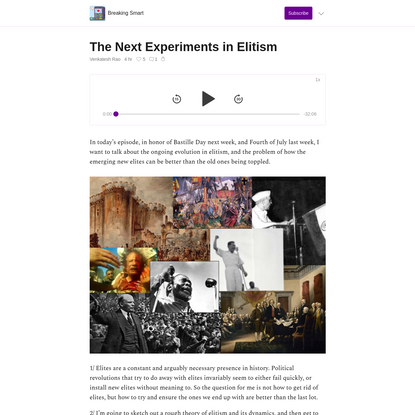 The Next Experiments in Elitism