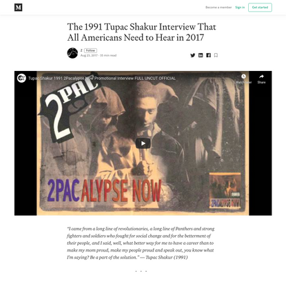 The 1991 Tupac Shakur Interview That All Americans Need to Hear in 2017