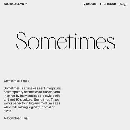 Sometimes Times - Boulevard LAB