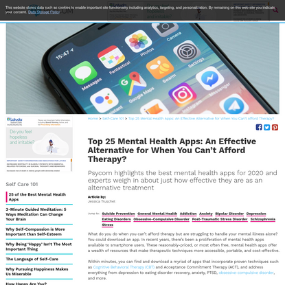 Top 25 Mental Health Apps for 2020: An Alternative to Therapy?
