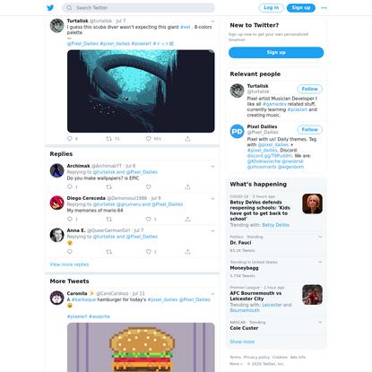 Turtalisk (@turtalisk) Tweeted: I guess this scuba diver wasn't expecting this giant #eel . 8-colors palette — @Pixel_Dailies #pixel_dailies #pixelart #ドット絵 https://t.co/HX1C7TaGLS