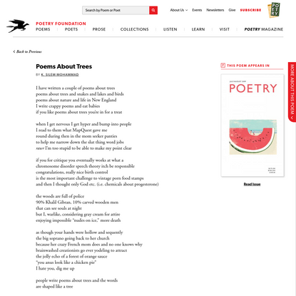 Poems About Trees by K. Silem Mohammad | Poetry Magazine