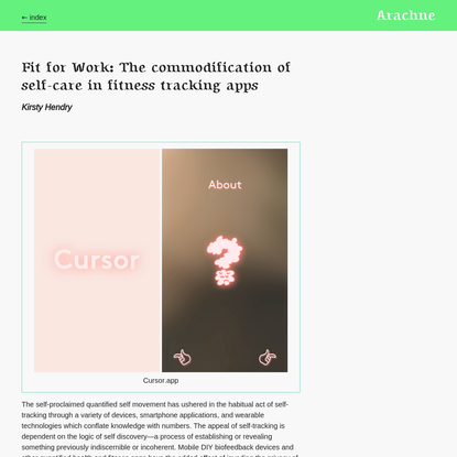 Fit for Work: The commodification of self-care in fitness tracking apps * Kirsty Hendry