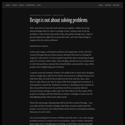 Design is not about solving problems