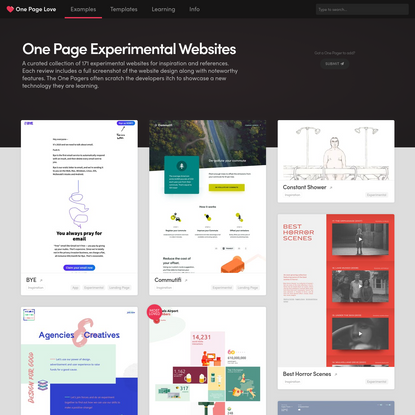 One Page Experimental Websites
