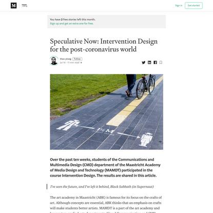 Speculative Now: Intervention Design for the post-coronavirus world