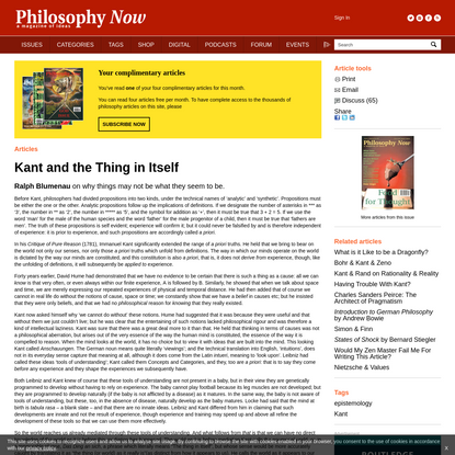 Kant and the Thing in Itself