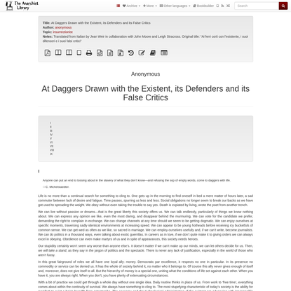 At Daggers Drawn with the Existent, its Defenders and its False Critics