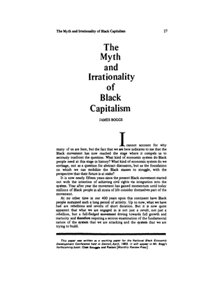 """James Boggs, """"The Myth & Irrationality of Black Capitalism"""" (1969)"""