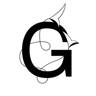 A grotesk capital G with an ornamental vine wrapping around it