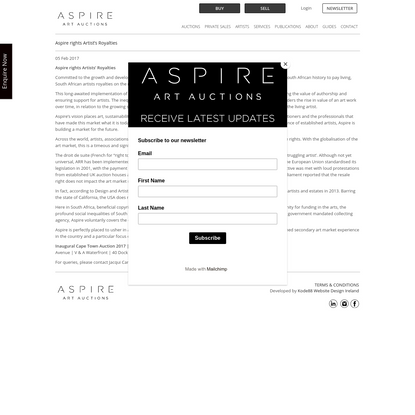 Aspire rights Artist's Royalties | Aspire Art Auctions