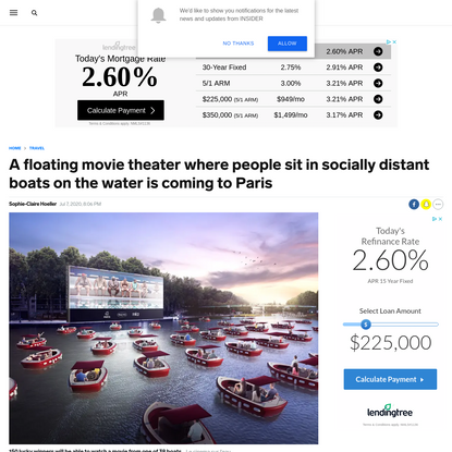 A floating movie theater where people sit in socially distant boats on the water is coming to Paris