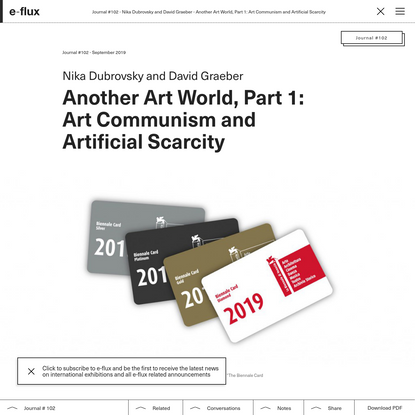 Another Art World, Part 1: Art Communism and Artificial Scarcity