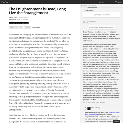 The Enlightenment is Dead, Long Live the Entanglement
