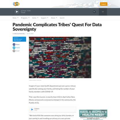 Pandemic Complicates Tribes' Quest For Data Sovereignty