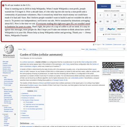 Garden of Eden (cellular automaton) - Wikipedia