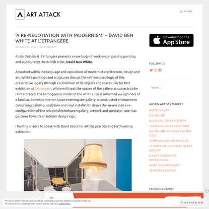 'A re-negotiation with Modernism' - David Ben White at l'étrangère