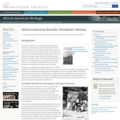 African American Records: Freedmen's Bureau