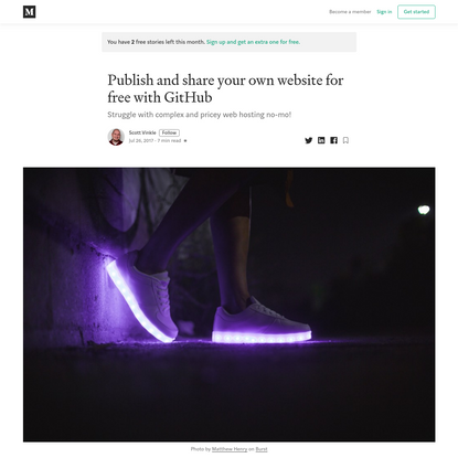 Publish and share your own website for free with GitHub