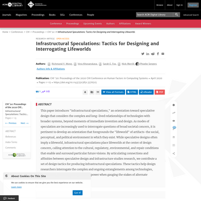 Infrastructural Speculations: Tactics for Designing and Interrogating Lifeworlds