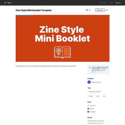 Figma - Zine Style Mini Booklet Template   A 40 Page 3.5in by 4.5in Zine Booklet Template Example and Printer's Spreads as C...
