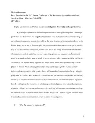 Digital Colonization and Virtual Indigeneity: Indigenous Knowledge and Algorithm Bias - Melissa Gasparotto