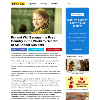 Finland Will Become the First Country in the World to Get Rid of All School Subjects
