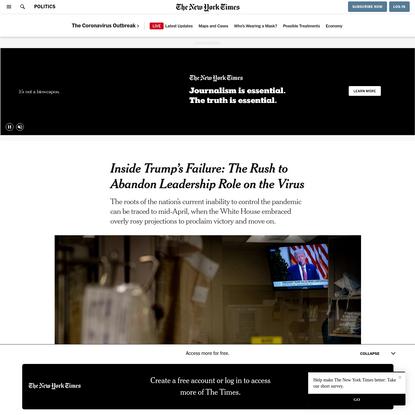 Inside Trump's Failure: The Rush to Abandon Leadership Role on the Virus