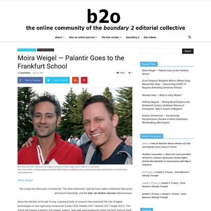 Moira Weigel — Palantir Goes to the Frankfurt School | boundary 2