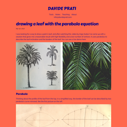 drawing a leaf with the parabola equation