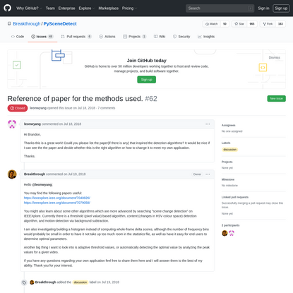 Reference of paper for the methods used. · Issue #62 · Breakthrough/PySceneDetect