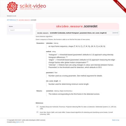 skvideo.measure.scenedet - scikit-video 1.1.11 documentation