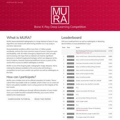 MURA Dataset: Towards Radiologist-Level Abnormality Detection in Musculoskeletal Radiographs