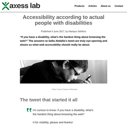 Accessibility according to actual people with disabilities - Axess Lab