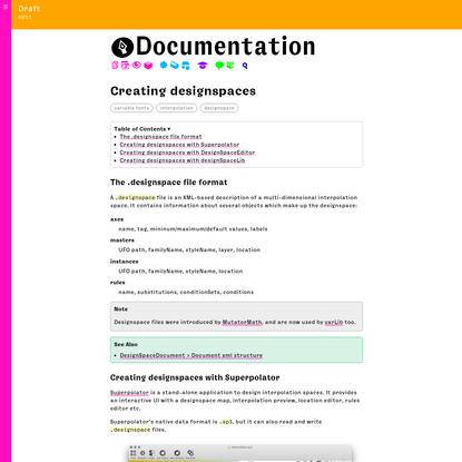 Creating designspaces